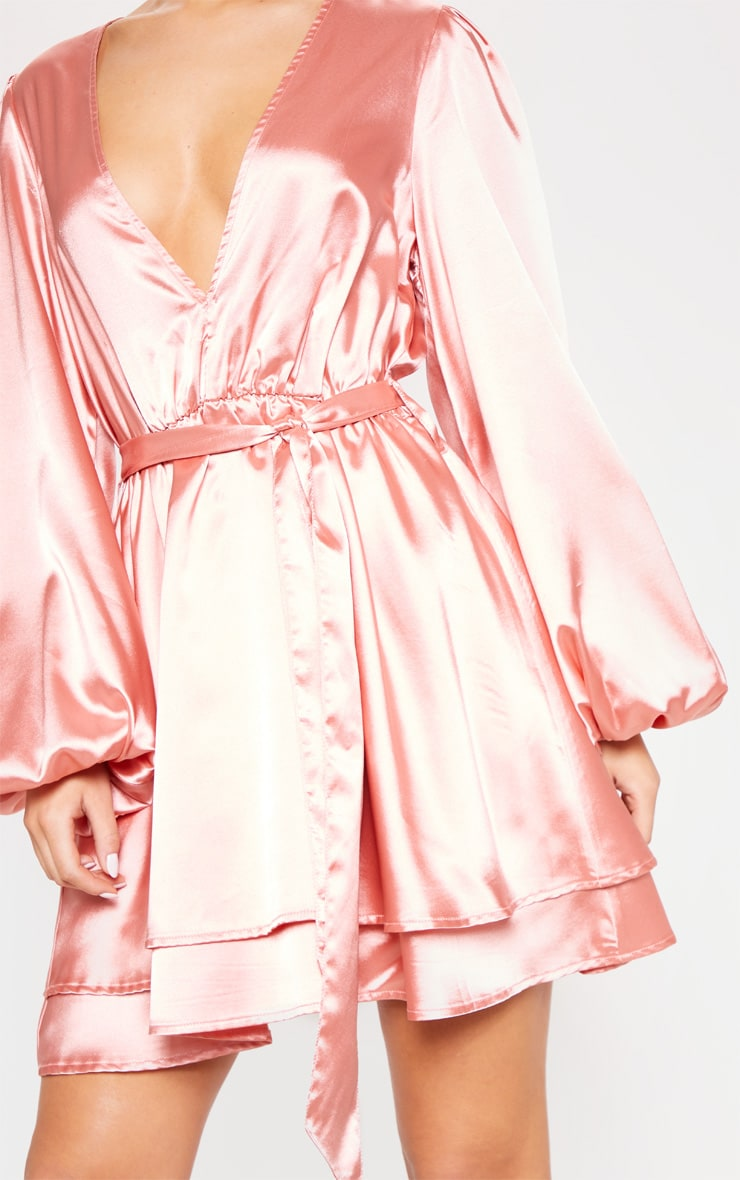 Rose Satin Balloon Sleeve Shift Dress 5