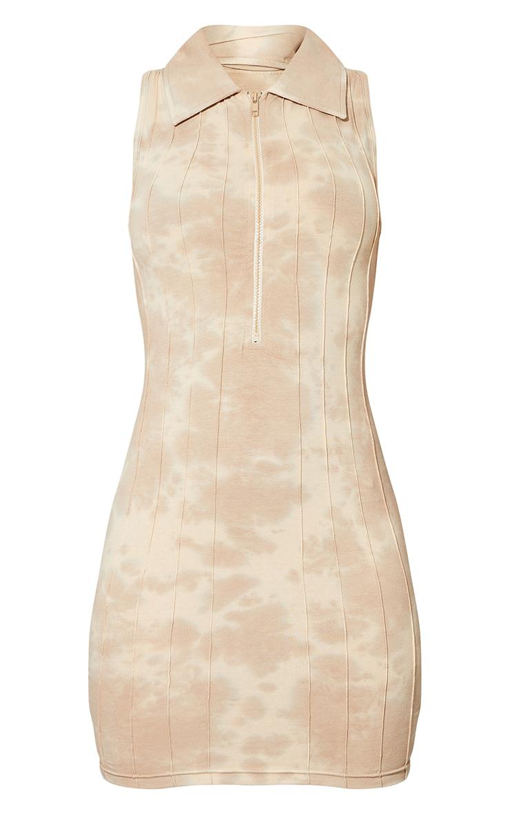 Stone Tie Dye Zip Up Collar Detail Sleeveless Bodycon Dress 5