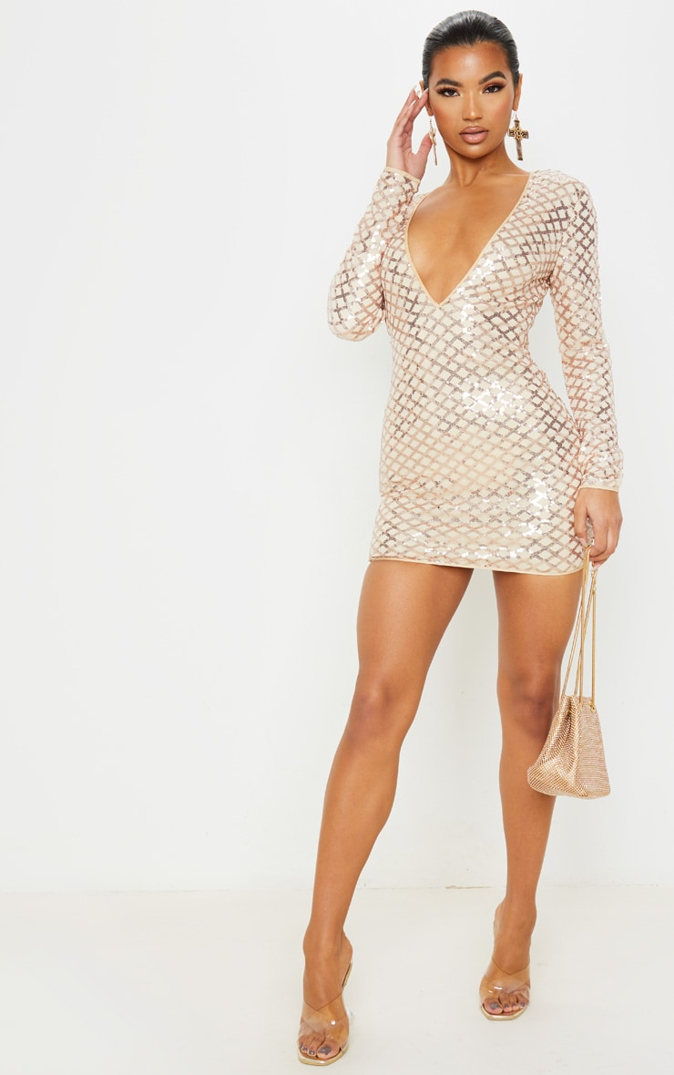 Rose Gold Patterned Sequin Long Sleeve Plunge Bodycon Dress 1