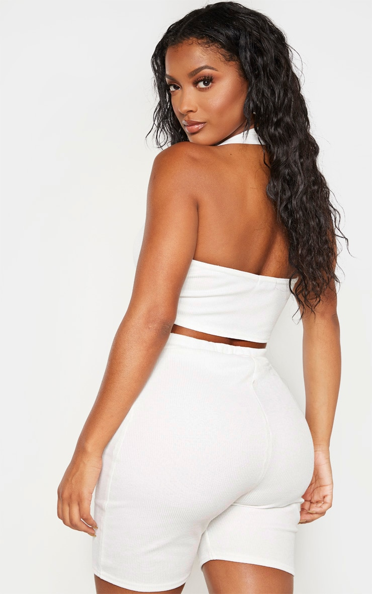 Shape White Ribbed Twist Front Halterneck Crop Top 2