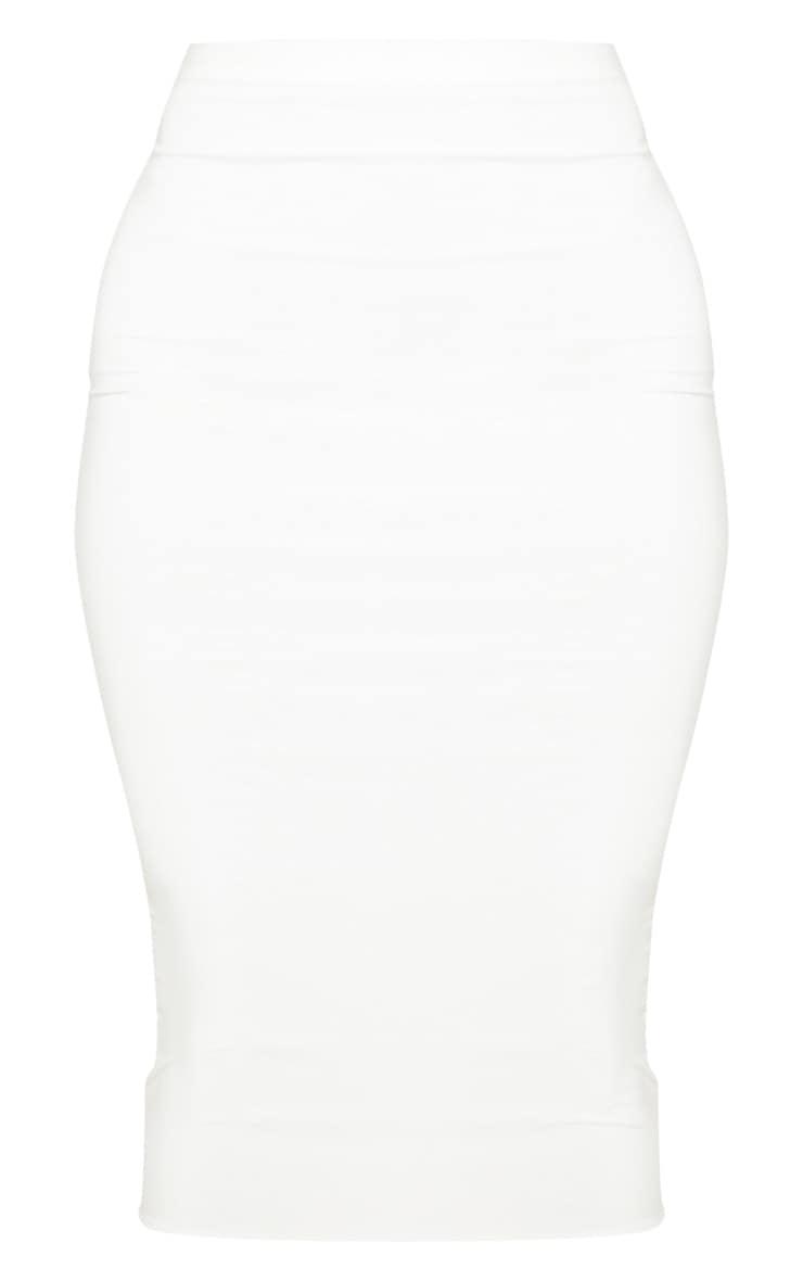 White Second Skin Slinky Midi Skirt 3