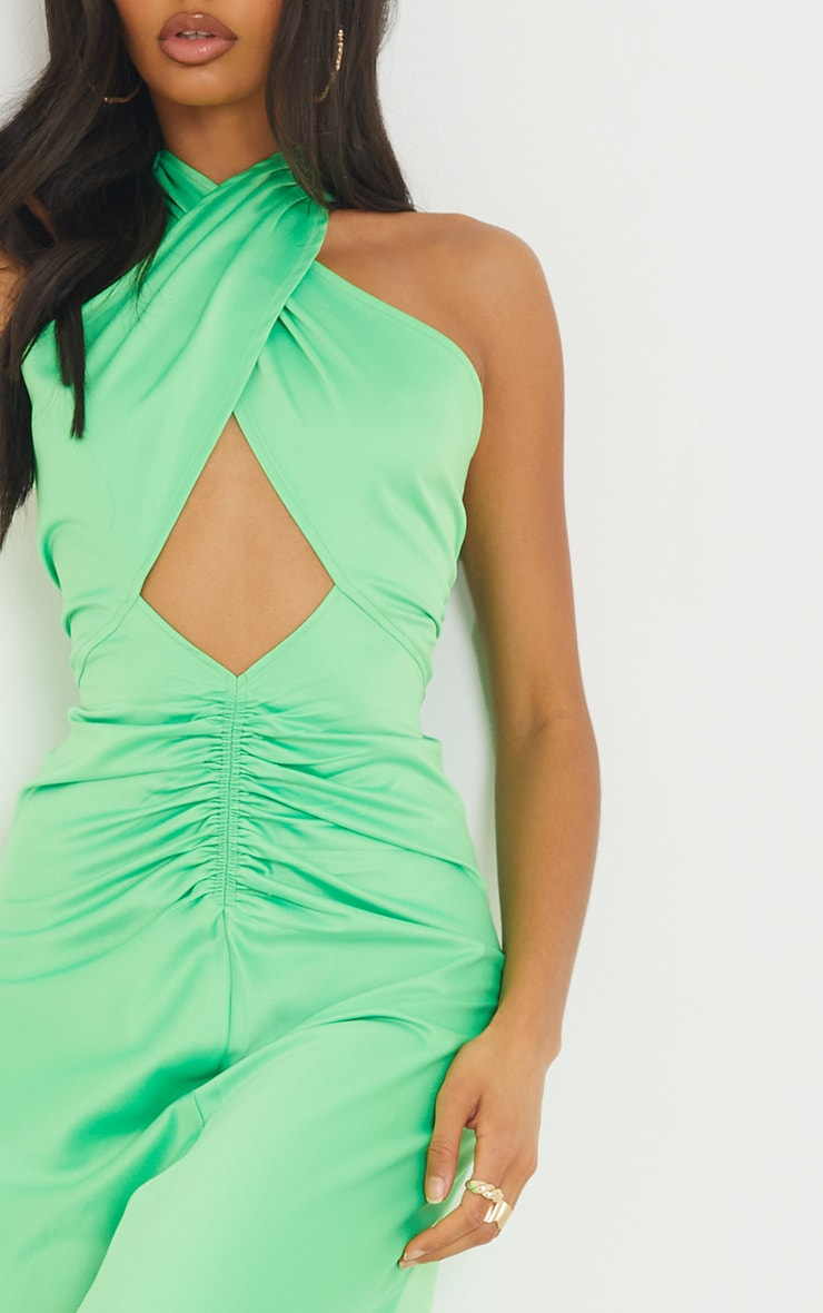 Lime Satin Halterneck Ruched Cut Out Midi Dress 4
