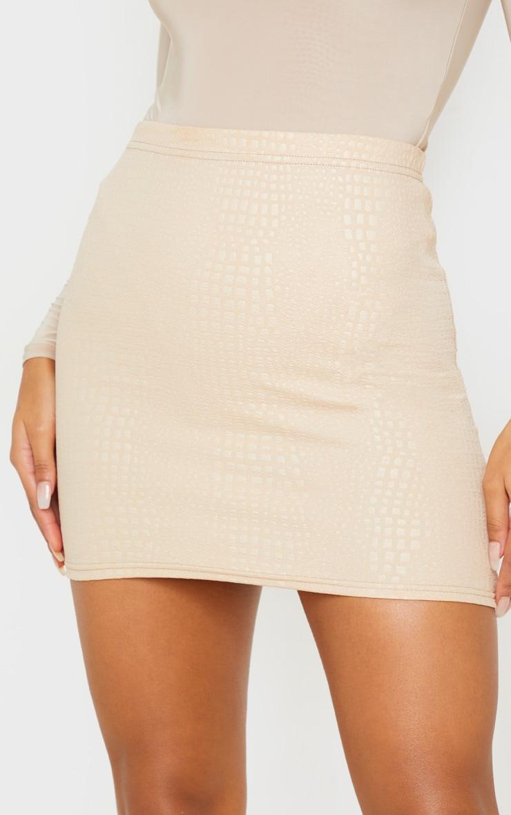 Stone Croc Print Bodycon Mini Skirt 6