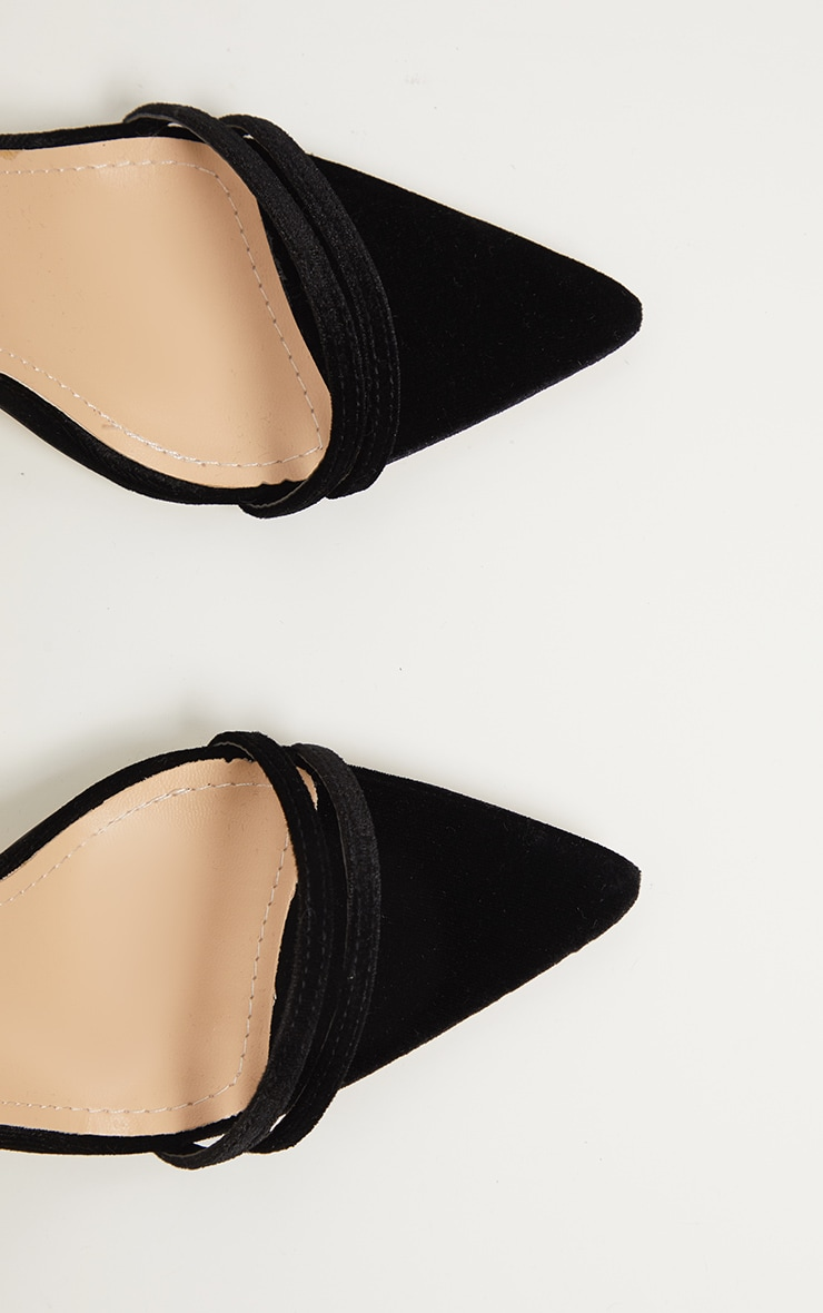 Black Velvet Point Toe Strappy Sandal 4