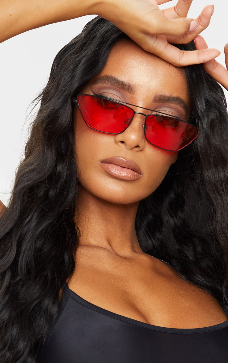 Black Trim Red Lens Double Bar Cat Eye Sunglasses 1