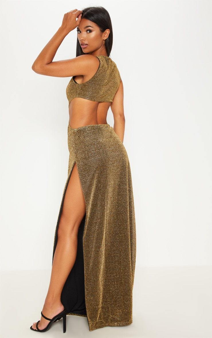 Gold Lurex Cut Out Extreme Split Maxi Dress by Prettylittlething