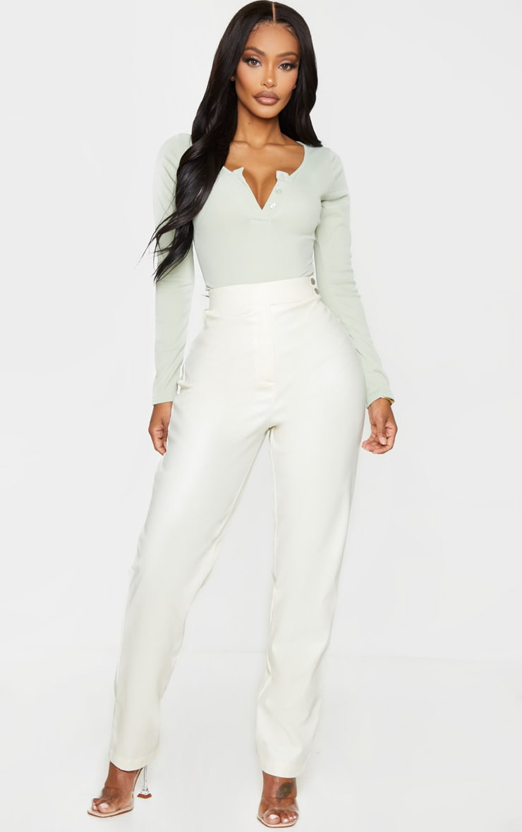 Shape Sage Green Ribbed Long Sleeve Bodysuit 3