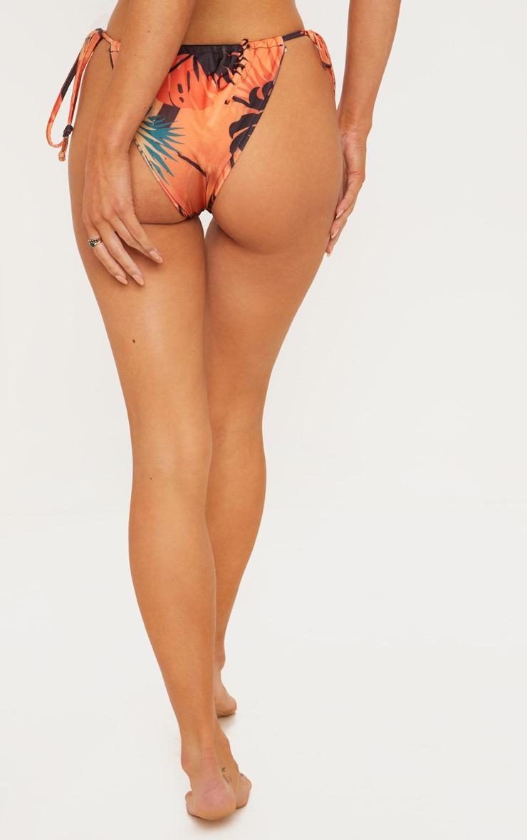 Orange Floral Minimal Adjustable Bikini Bottom 5