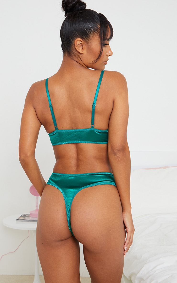 Emerald Green Lace Front Panel Satin Thong 2