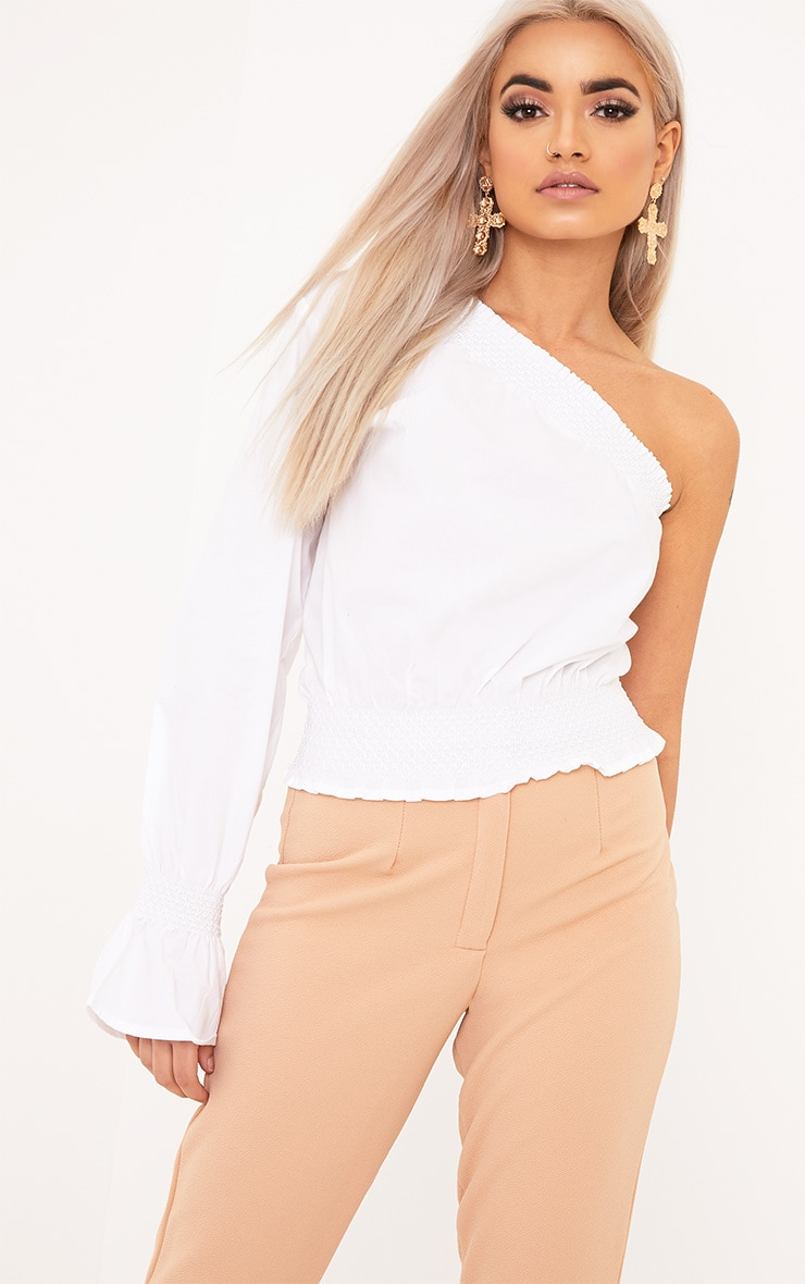 Macey White One Shoulder Smocked Cotton Blouse 1