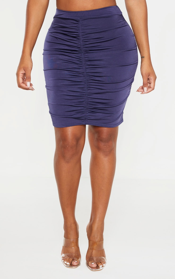 Shape Midnight Blue Ruched Front Mini Skirt 2
