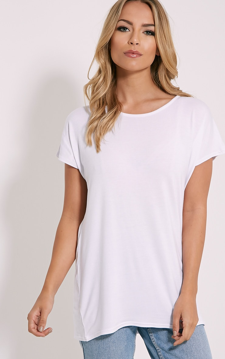 Basic White Oversized Round Neck T-Shirt 1