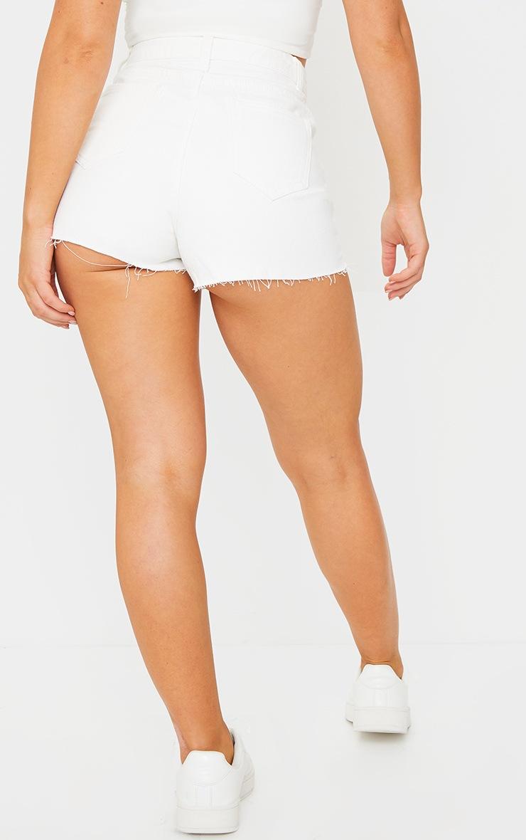 PRETTYLITTLETHING White Raw Hem Hot Pants 3