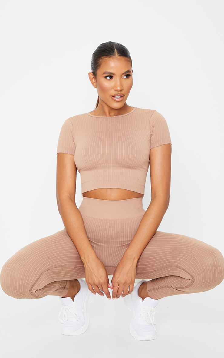 Nude Premium Ribbed Seamless Crop Top 3