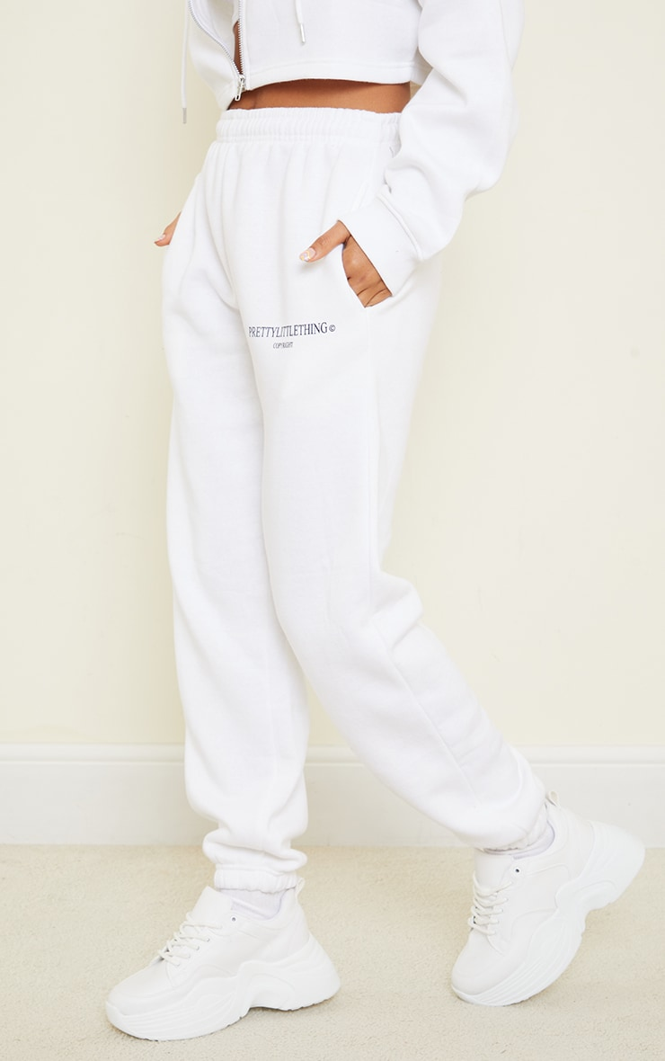 PRETTYLITTLETHING White Copyright Graphic Joggers 2