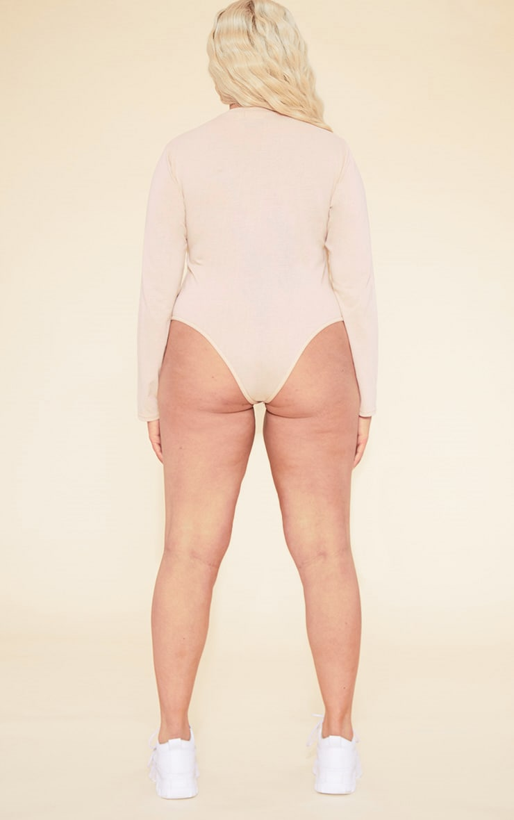RECYCLED Plus Deep Nude Crew Neck Long Sleeve Bodysuit 6