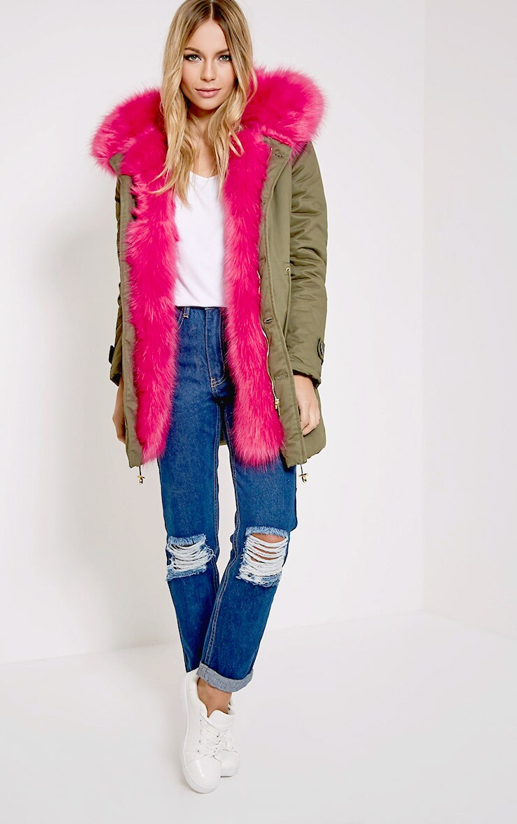 Jen Fuchsia Fur Lined Premium Parka 4