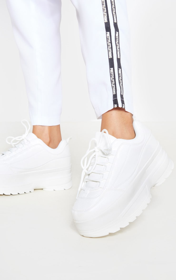 White Triple Sole Cleated Chunky Sneakers 1