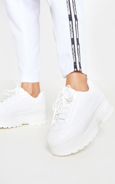 White Triple Sole Cleated Chunky Trainer
