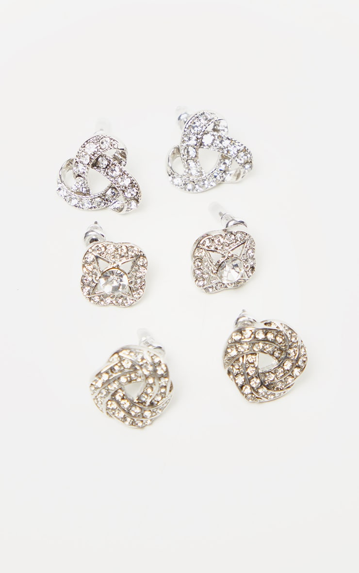 Silver Diamante Knotted Stud Earrings Multi Pack 3