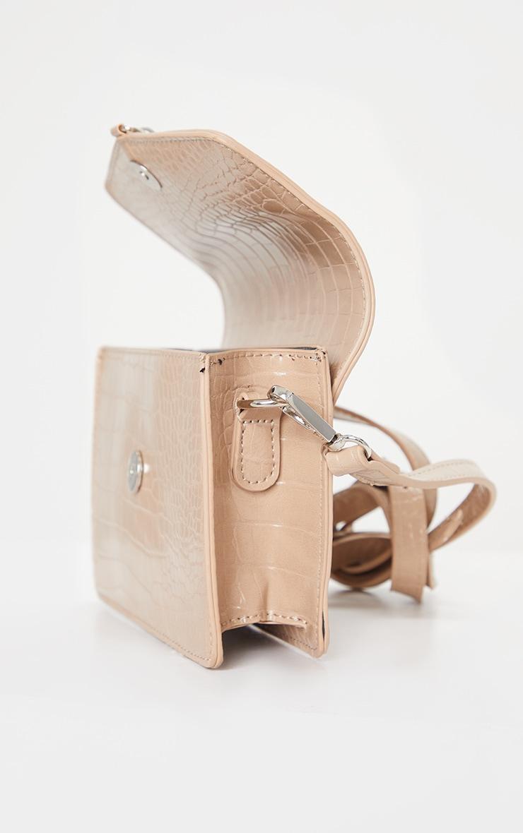 Sacoche nude imitation croco avec cadenas argent 4