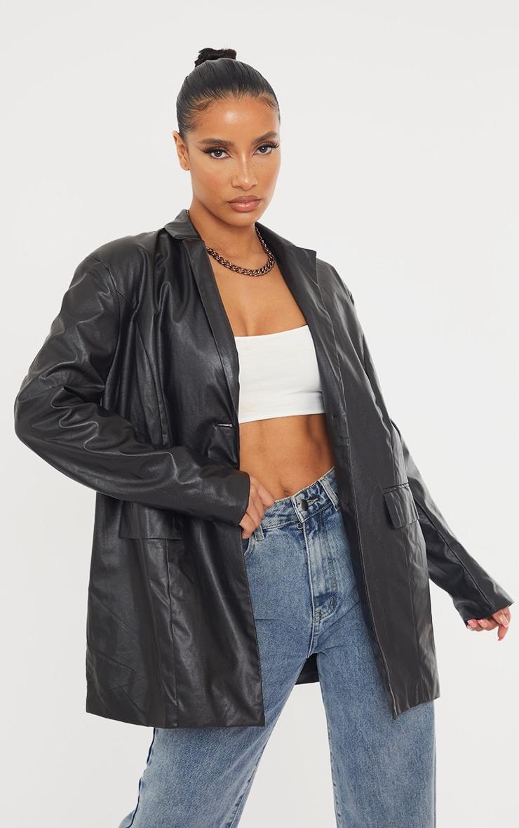 Black Faux Leather Oversized Dad Blazer 3