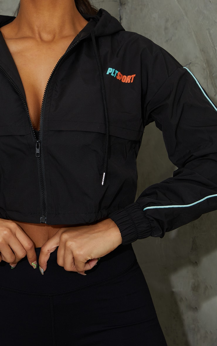 Black Piping Cropped Matte Windbreaker  4
