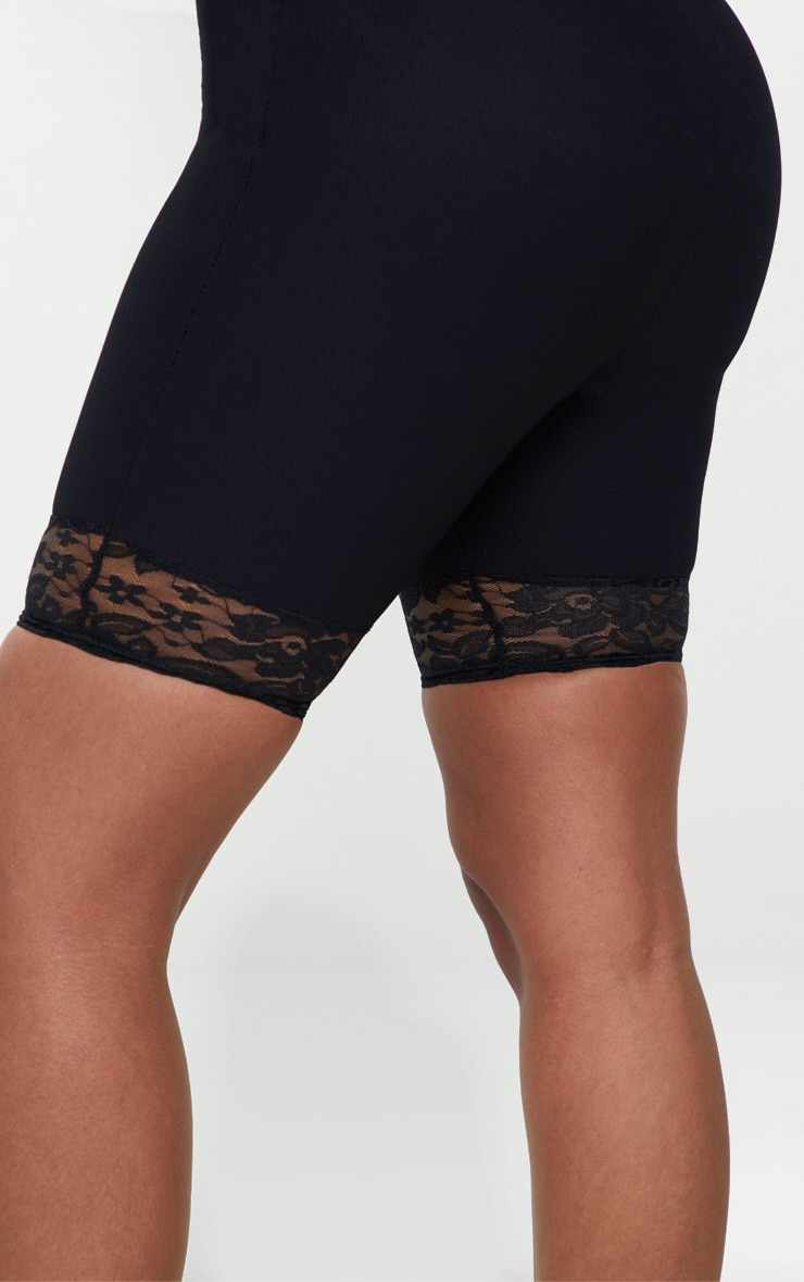 Shape Black Ribbed Lace Trim Cycling Shorts 6