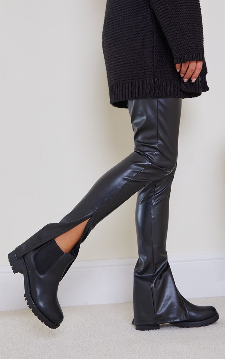 Black Low Heel Cleated Chelsea Ankle Boots 2