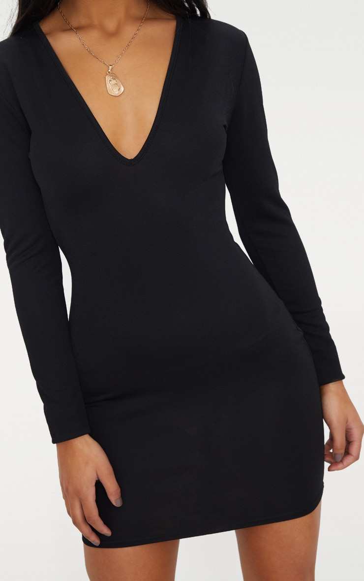 Black Long Sleeve Plunge Bodycon Dress 5