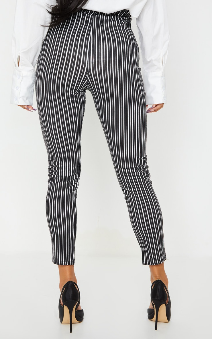 Black Stripe Paperbag Skinny Trousers 4