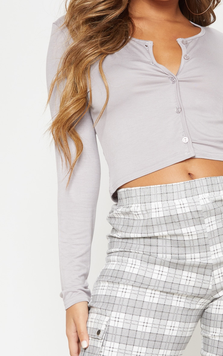 Dove Grey Button Front Long Sleeve Crop Top 5