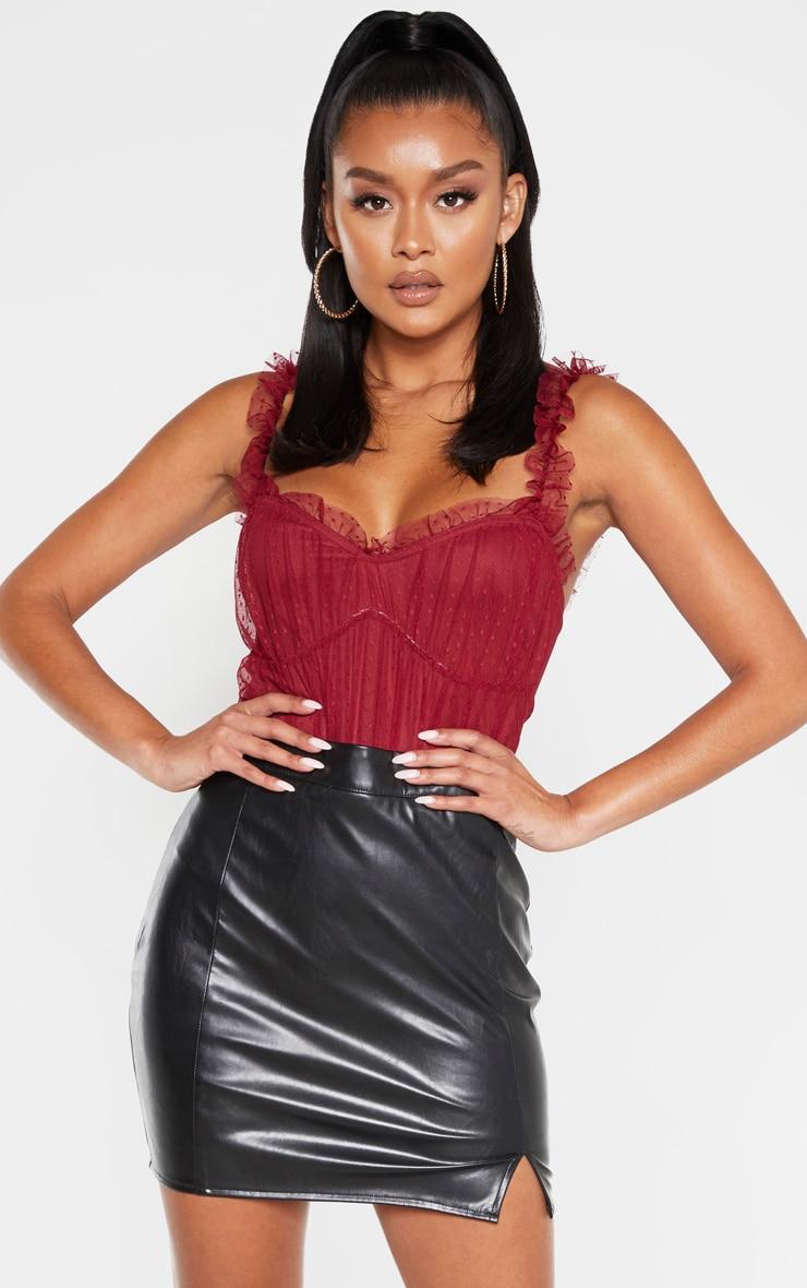Scarlet Dobby Mesh Frill Bodysuit 1