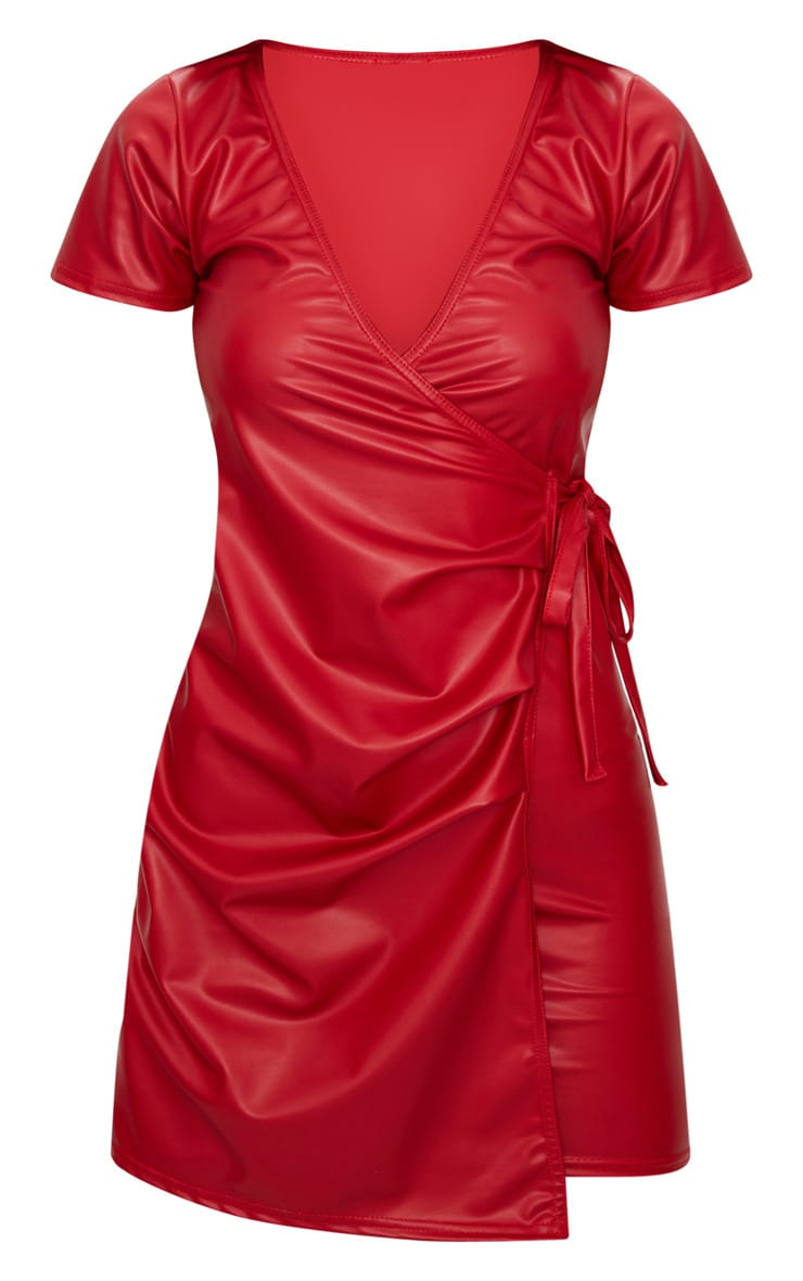 Red Short Sleeve Wrap Over PU Bodycon Dress 3