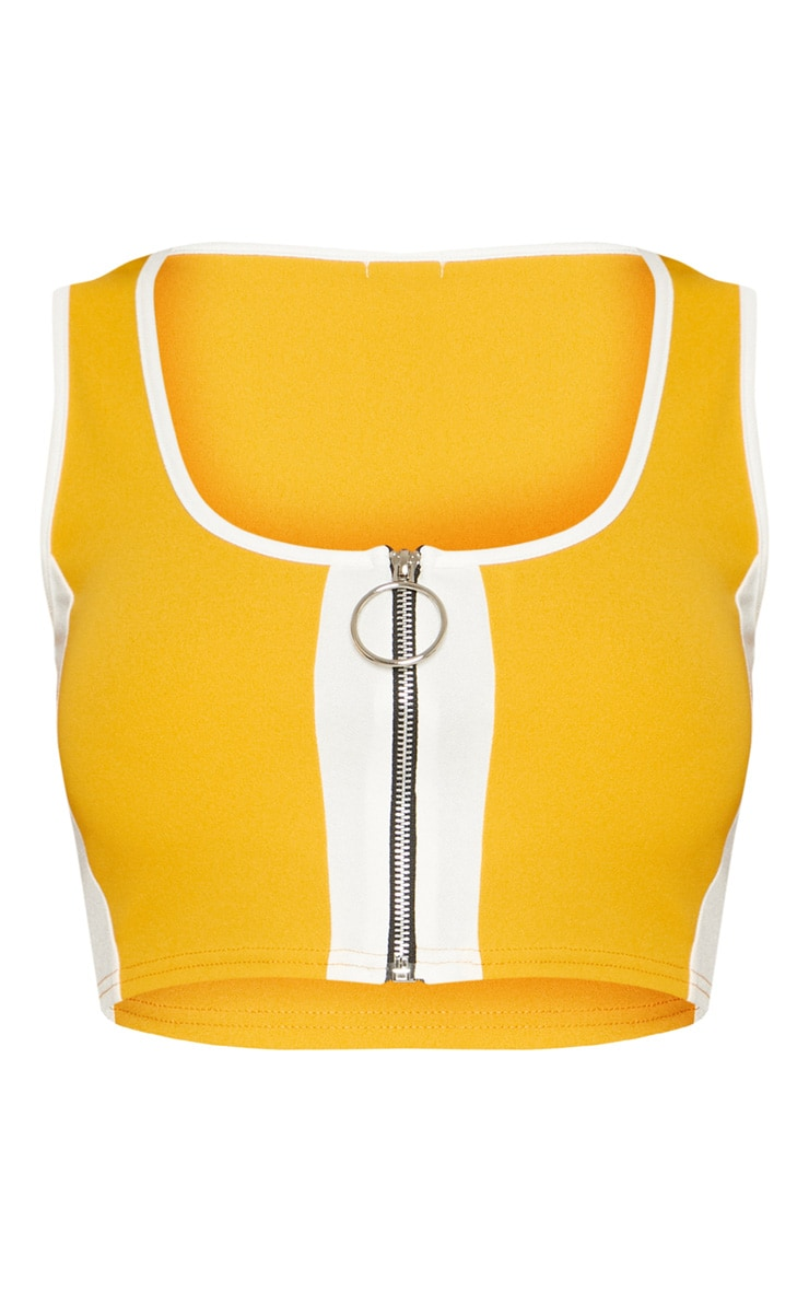Mustard Contrast Panel Ring Pull Crop Top 3