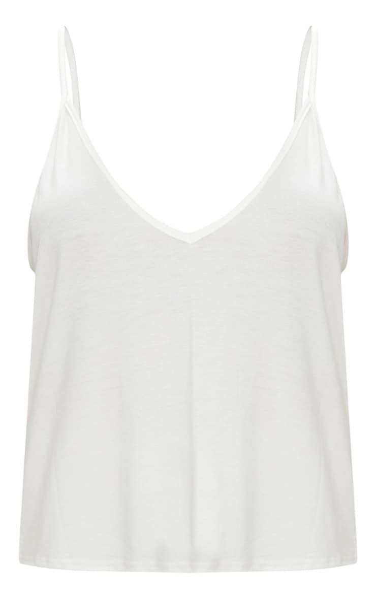 Cream Basic Jersey V Neck Swing Vest  3