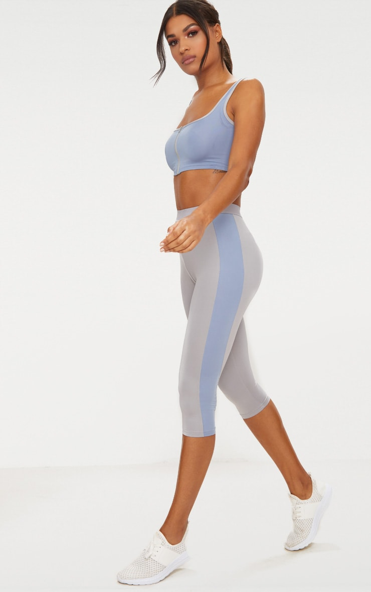 Grey 3/4 Sports Leggings  1