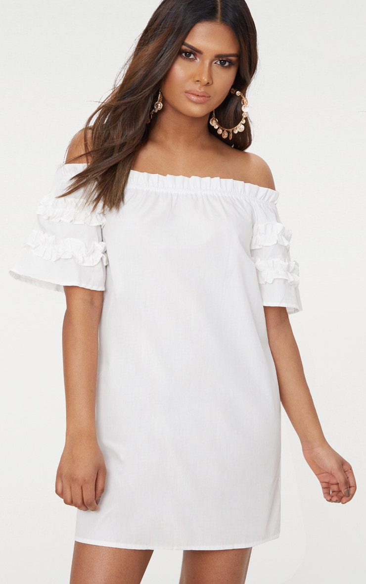 Petite White Ruffle Sleeve Bardot Shift Dress 1