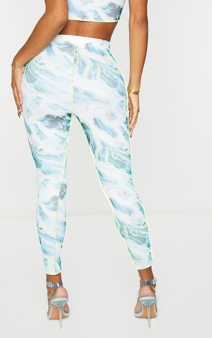 Shape White Marble Print Mesh Seam Detail Cropped Leggings 3
