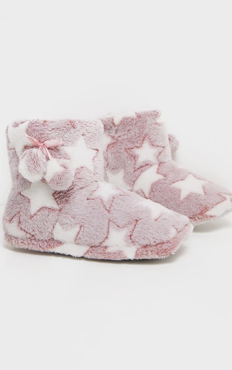 Chaussons roses style bottes à étoiles 2