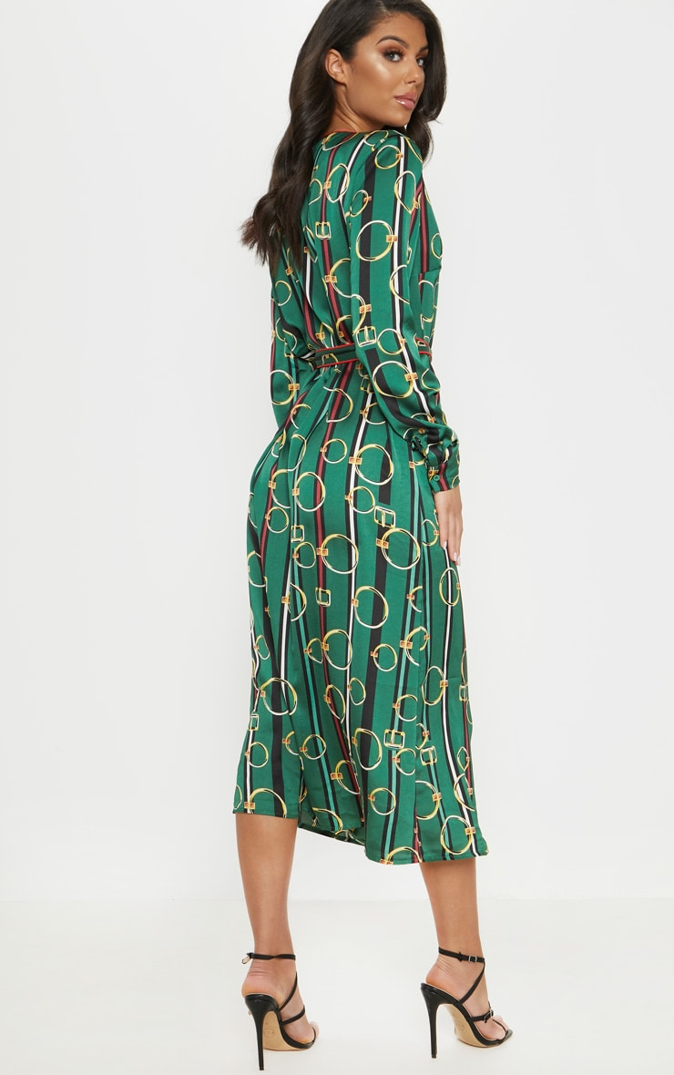 Green Satin Chain Print Belted Midi Dress 2