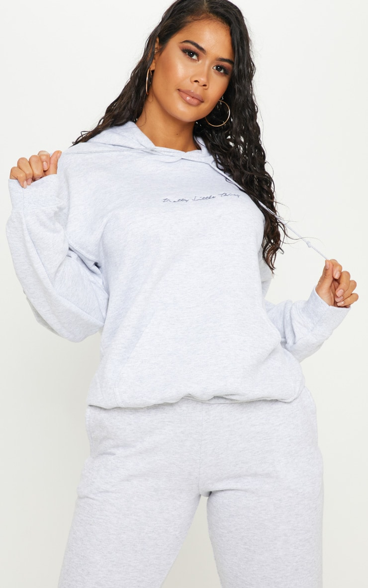 PRETTYLITTLETHING Grey Embroidered Oversized Hoodie 1