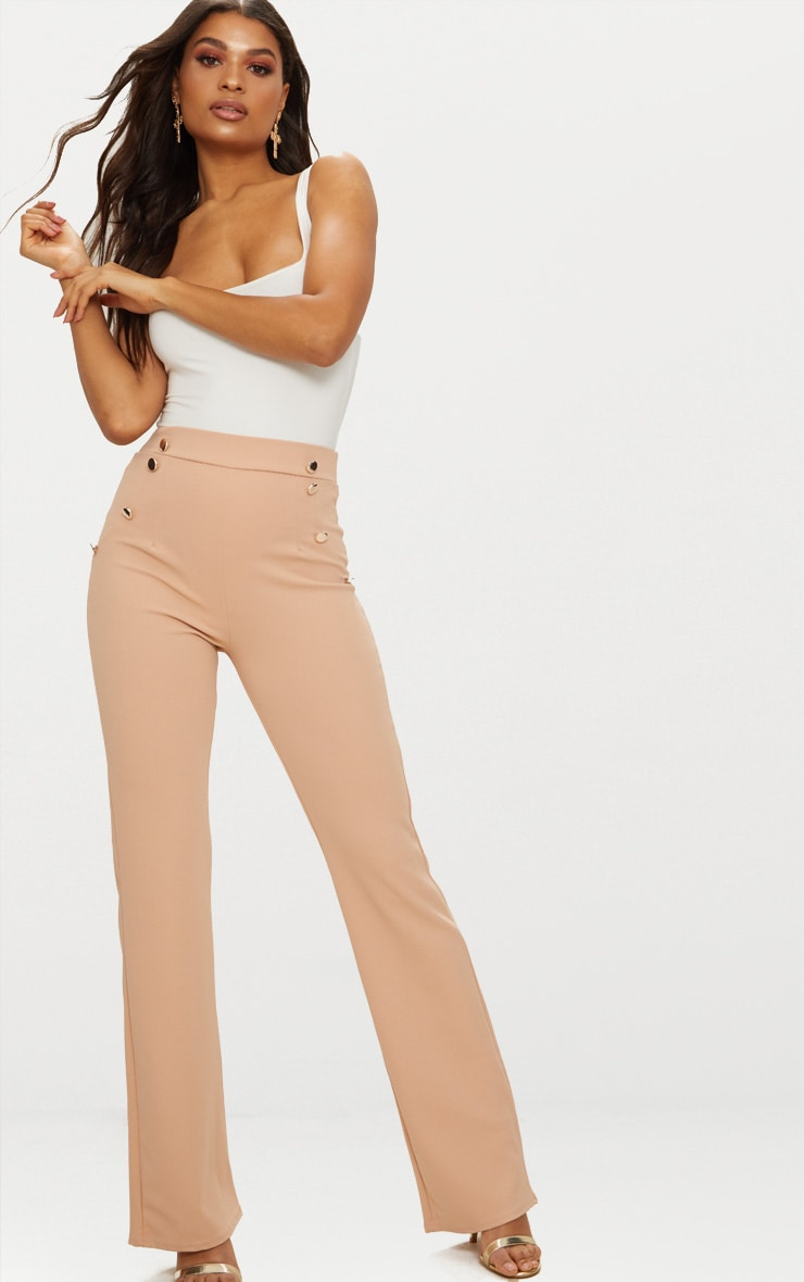 Nude Military High Waist Button Wide Leg Trousers   1