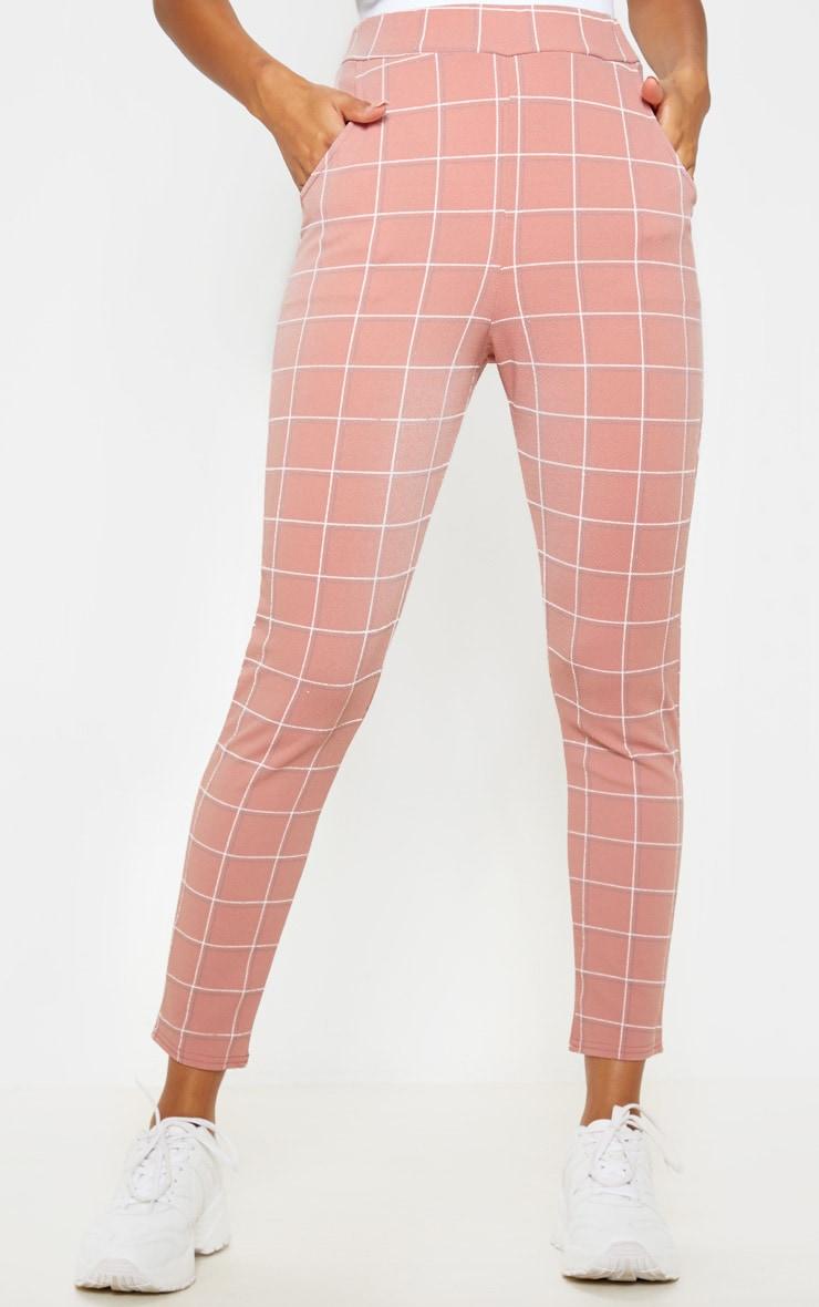 Dusty Rose Tweed Check Skinny Pants 2