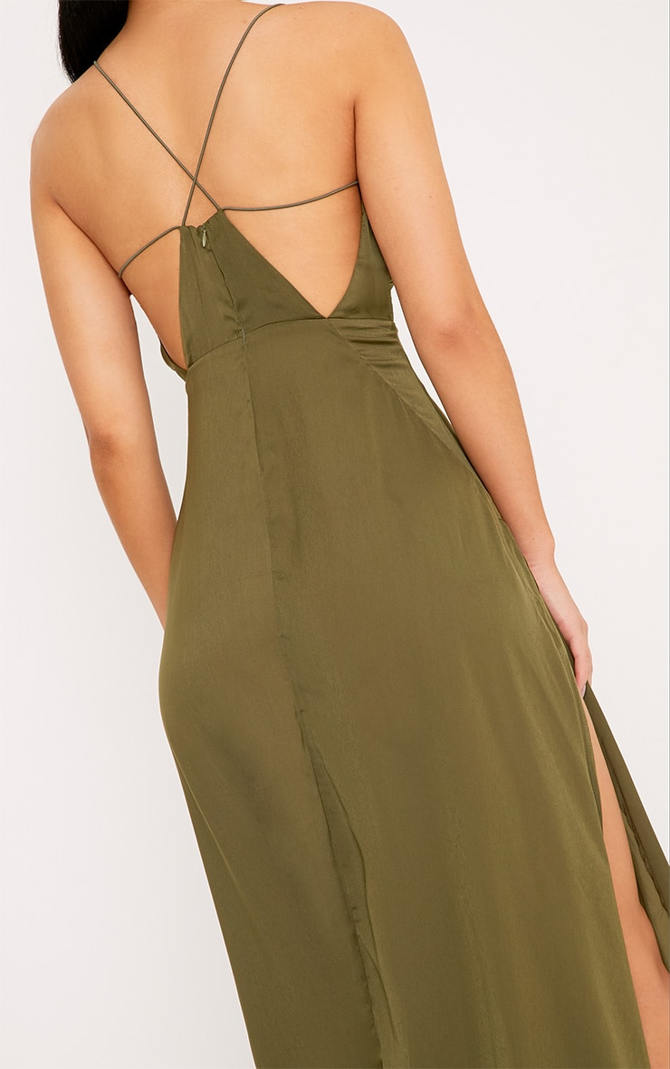 Beccie Khaki Extreme Split Strappy Back Maxi Dress 5