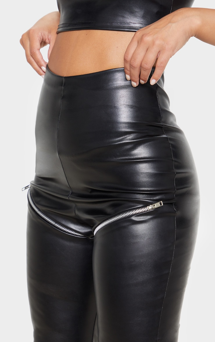 Petite Black Zip PU Biker Leggings 5