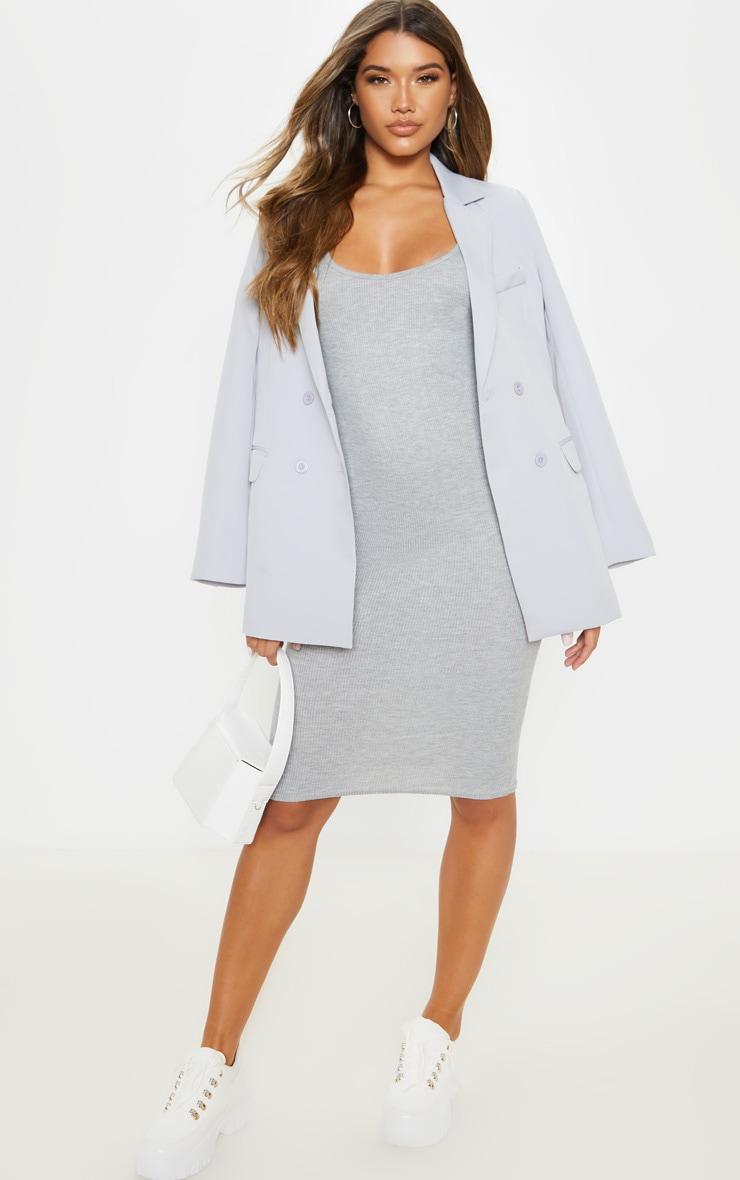 Grey Scoop Armhole Rib Midi Dress 4