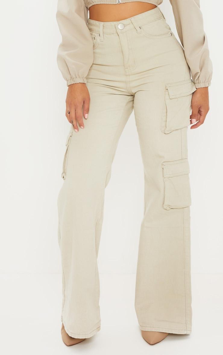 Petite - Jean cargo gris pierre à poches et jambes évasées 2