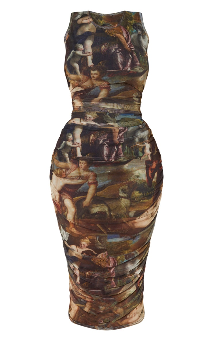 Shape - Robe mi-longue sans manches à imprimé renaissance multicolore 3