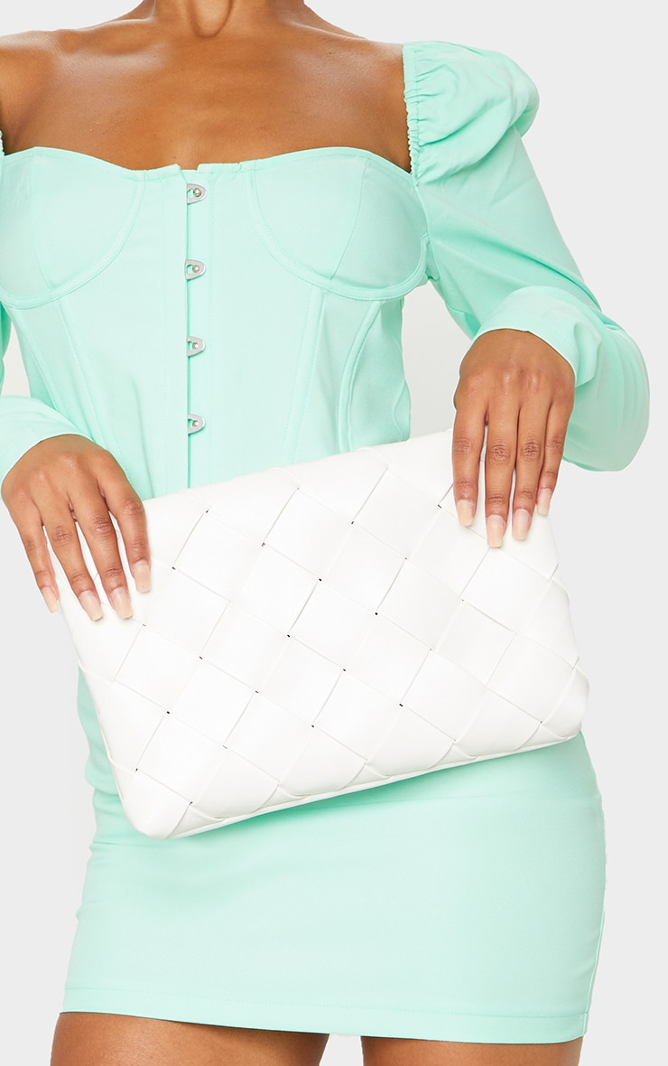 White PU Woven Oversized Clutch 1